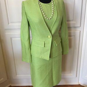 Amazing St. John Collection Green Dress & Blazer